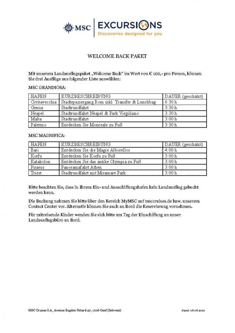 MSC Cruises - Welcome Back Ausflüge_080820